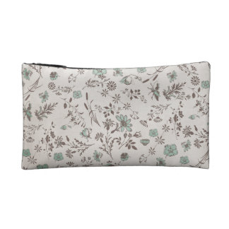 old fashioned Flowers Background Makeup Bag