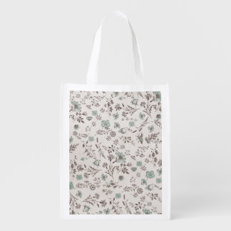 old fashioned Flowers Background Reusable Grocery Bag