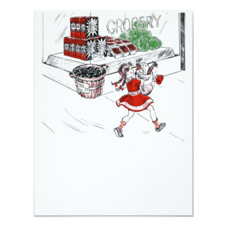 Old Fashioned Grocery Store and Little Girl 11 Cm X 14 Cm Invitation Card