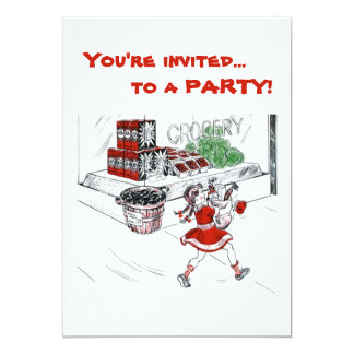 Old Fashioned Grocery Store and Little Girl 13 Cm X 18 Cm Invitation Card