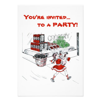 Old Fashioned Grocery Store and Little Girl Invites