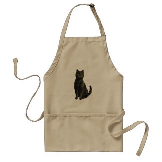 Old Fashioned Halloween Black Cat Adult Apron