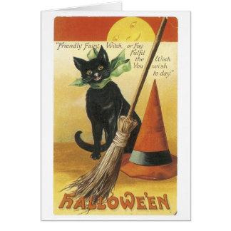 Old-fashioned Halloween, Black cat Card