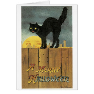Old-fashioned Halloween, Black cat & Full moon Card