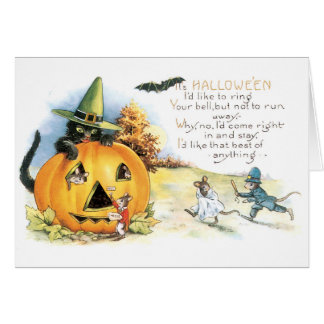 Old-fashioned Halloween, Black cat & Mice Card