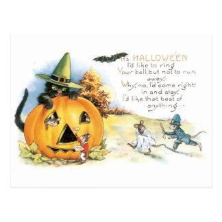 Old-fashioned Halloween, Black cat & Mice Postcard