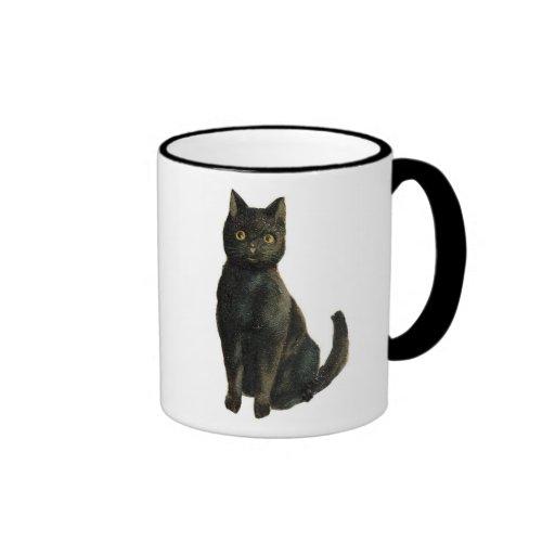 Old Fashioned Halloween Black Cat Coffee Mugs