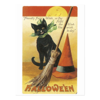 Old-fashioned Halloween, Black cat Postcard