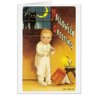Old-fashioned Halloween, Boy & Black cat Card