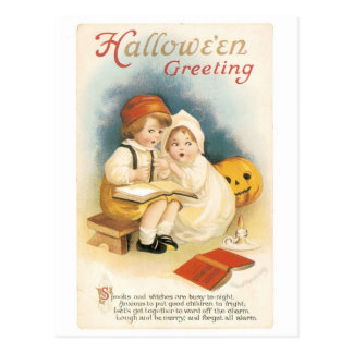 Old-fashioned Halloween, Boy & Girl Postcard