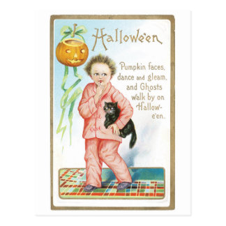 Old-fashioned Halloween, Boy holding Black cat Postcard