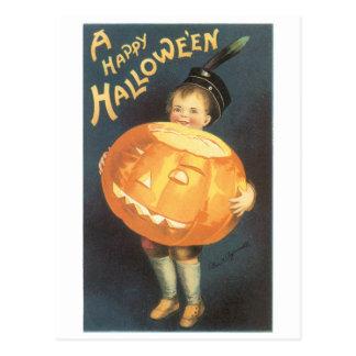 Old-fashioned Halloween, Boy holding Pumpkin Postcard