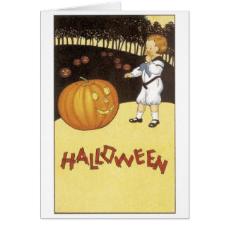 Old-fashioned Halloween, Boy meets Jack-o'-lantern Card