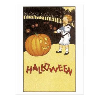 Old-fashioned Halloween, Boy meets Jack-o'-lantern Postcard