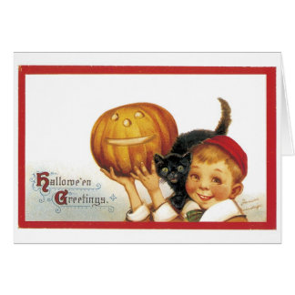 Old-fashioned Halloween, Boy with Black cat Card