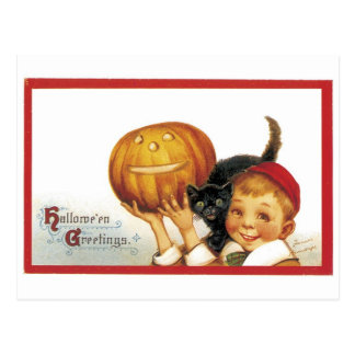 Old-fashioned Halloween, Boy with Black cat Postcard