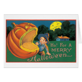 Old-fashioned Halloween, Boy with Jack-o'-lantern Card