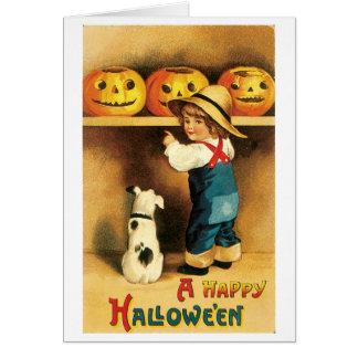 Old-fashioned Halloween, Boy with Puppy Card