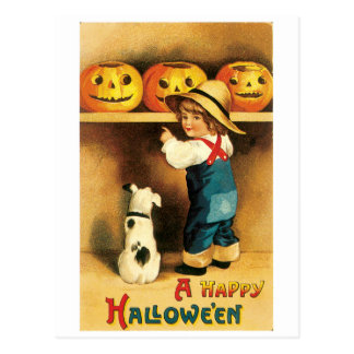 Old-fashioned Halloween, Boy with Puppy Postcard