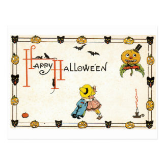 Old-fashioned Halloween, Couple Postcard
