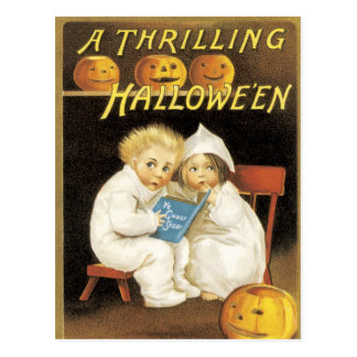 Old Fashioned Halloween Ghost Story Kids Postcards