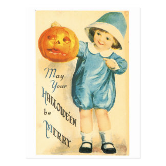 Old-fashioned Halloween, Girl holding Pumpkin Postcard