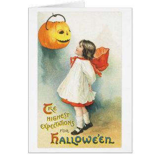 Old-fashioned Halloween, Girl & Jack-o'-lantern Card