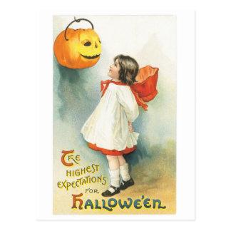 Old-fashioned Halloween, Girl & Jack-o'-lantern Postcard