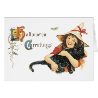 Old-fashioned Halloween, Girl with Black cat Card