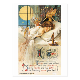 Old-fashioned Halloween, Girl with Fairies Postcard