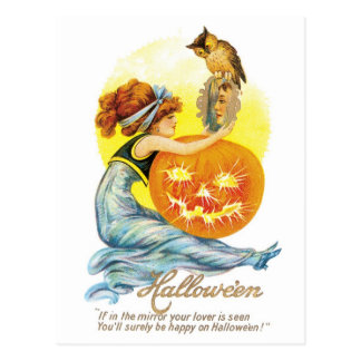 Old-fashioned Halloween, Girl with Owl Postcard