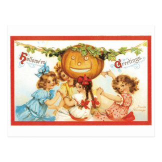 Old-fashioned Halloween, Girls with Pumpkin Postcard