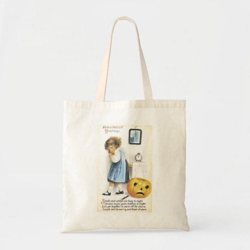 Old Fashioned Hallowe'en Greetings Tote Bags