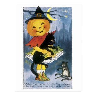 Old-fashioned Halloween, Jack-o'-lantern Girl Postcard
