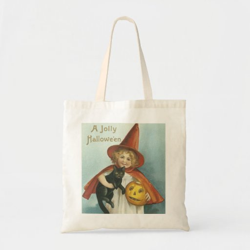 Old Fashioned Halloween Jolly Little Witch Canvas Bag