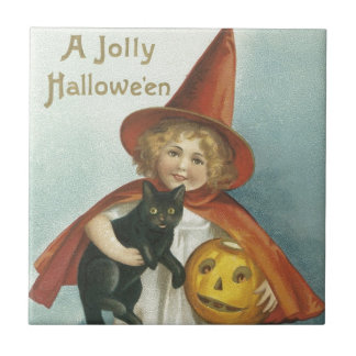 Old Fashioned Halloween Jolly Little Witch Small Square Tile