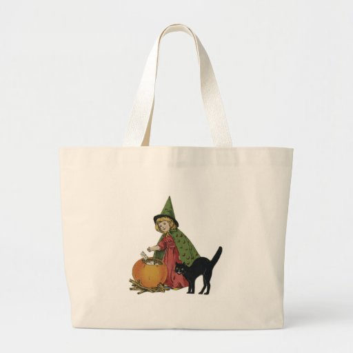 Old Fashioned Halloween Little Witch Tote Bags