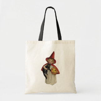 Old Fashioned Halloween Little Witch & Black Cat Canvas Bag