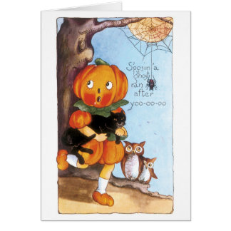 Old-fashioned Halloween, Pumpkin girl, Black cat Card