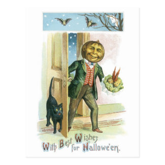 Old-fashioned Halloween, Pumpkin man Postcard