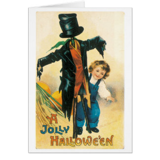 Old-fashioned Halloween, Scarecrow & child Card