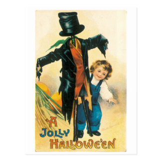 Old-fashioned Halloween, Scarecrow & child Postcard