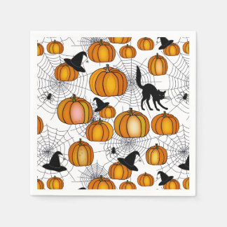 Old Fashioned Halloween w/ Orange Pumpkins Disposable Napkin