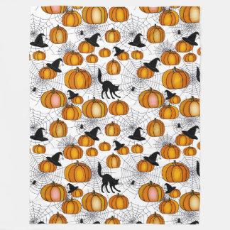 Old Fashioned Halloween w/ Orange Pumpkins Fleece Blanket