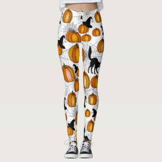 Old Fashioned Halloween w/ Orange Pumpkins Leggings