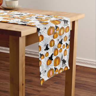 Old Fashioned Halloween w/ Orange Pumpkins Long Table Runner