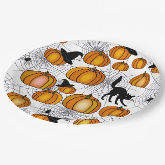 Old Fashioned Halloween w/ Orange Pumpkins Paper Plate