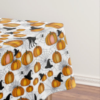 Old Fashioned Halloween w/ Orange Pumpkins Tablecloth