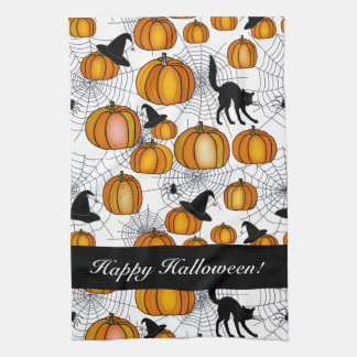 Old Fashioned Halloween w/ Orange Pumpkins Tea Towel
