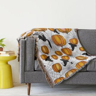 Old Fashioned Halloween w/ Orange Pumpkins Throw Blanket